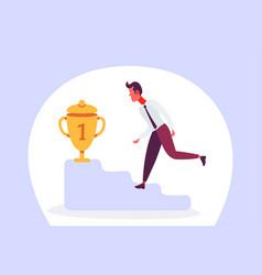 Businessman climbing podium first place trophy vector
