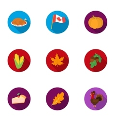 Canadian Thanksgiving Day set icons in flat style vector image