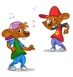 cartoon set of hip-hop dancing mouses vector image
