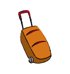 cartoon suitcase luggage wheel handle vector image