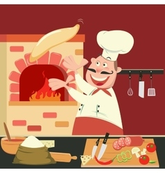 Chef is making pizza in furnace pizzeria vector