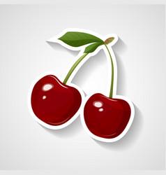 cherry sticker cartoon vector image