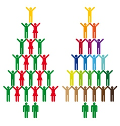 christmas trees with people icons vector image vector image