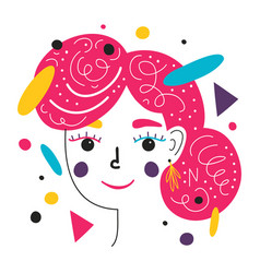 colored abstract woman face and geometric details vector image