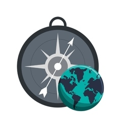 compass and earth globe icon vector image