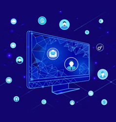 compute with geometric shapes and icons vector image