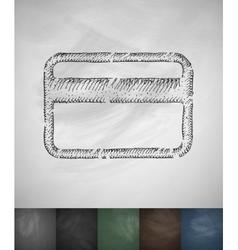 credit card icon Hand drawn vector image