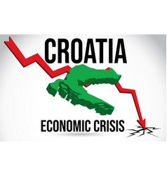 Croatia map financial crisis economic collapse vector