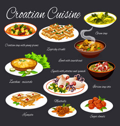 Croatian cuisine seafood vegetable meat dishes vector