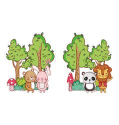 cute animals rabbit bear lion and panda trees vector image