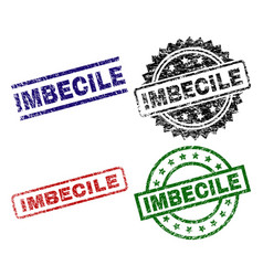 Damaged textured imbecile stamp seals vector