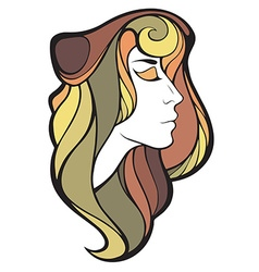 Decorative portrait of shaman girl with color long vector