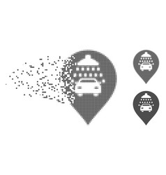 Disappearing pixel halftone car shower marker icon vector