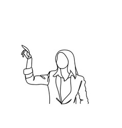 doodle business woman point finger showing hand vector image