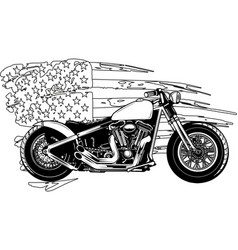 Draw in black and white chopper motorcycle vector