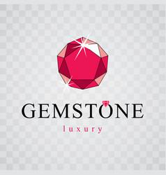 elegant sparkling gem faceted gemstone sign vector image