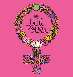 Female gender symbol with flowers pop art style vector