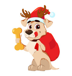 funny dog wearing santa claus hat and deer vector image