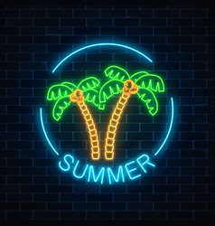 Glowing neon summer sign with two palms and text vector