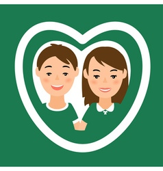 Greeting card with man and woman in heart shape vector