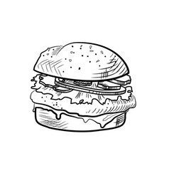 Hand drawn of sketch cheeseburger vector