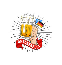 hand holding full glass of beer and bavarian vector image