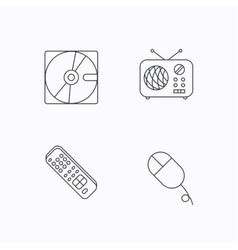 Hard disk radio and TV remote icons vector image