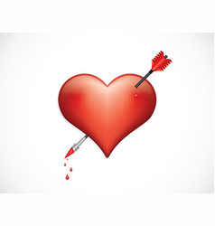 heart pierced with arrow valentines day symbol vector image