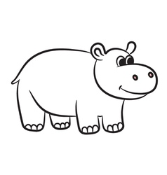 hippo black and white vector image