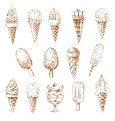 Ice cream desserts isolated sketches vector image