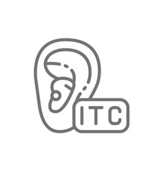 In canal hearing aid itc line icon vector