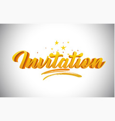 Invitation golden yellow word text with vector