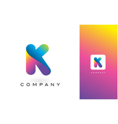 K logo letter with rainbow vibrant beautiful vector