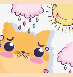 Kawaii cartoon cute cat in rainy day vector