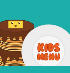 Kids menu tasty pancake breakfast vector