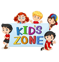kids zone with international kids vector image