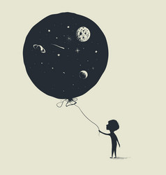 Little boy keeps a balloon with universe in him vector