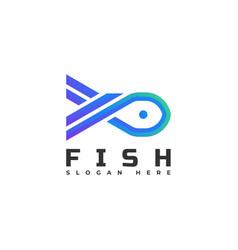 logo fish gradient line art style vector image
