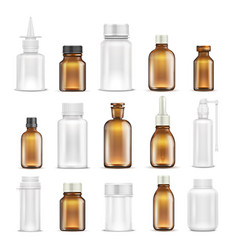 medicine glass and plastic blank bottles isolated vector image