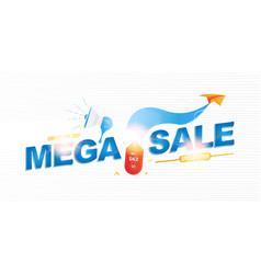 mega sale 50 banner template design with light vector image