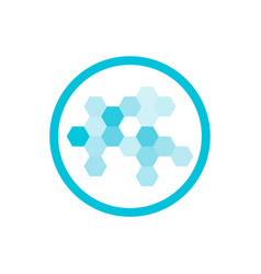 Nanotechnology blue round icon vector