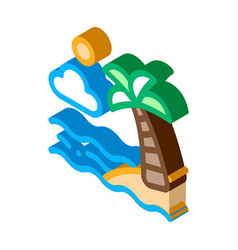 ocean view with palm isometric icon vector image