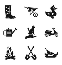 Peasant farm icons set simple style vector