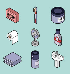 personal hygiene flat outine isometric set vector image
