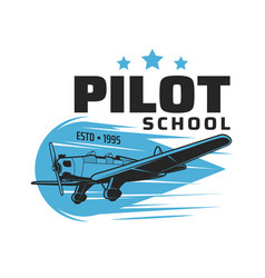 Pilot school icon vintage plane flying in sky vector