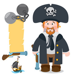 pirate captain banner from an old parchment with vector image