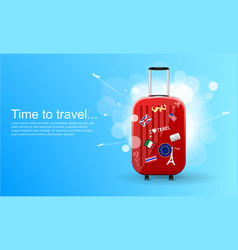 plastic travel bag with different travel souvenirs vector image