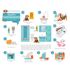 puppy care and safety in your home bathroom pet vector image