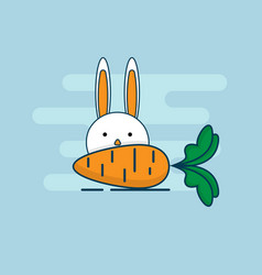 rabbit with carrot flat design vector image