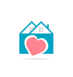 real estate house icon heart logo with shadow vector image